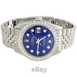 Mens Rolex Datejust 36mm Diamond Watch Jubilee Steel Band Personnalisé Cadran Bleu 2 Ct