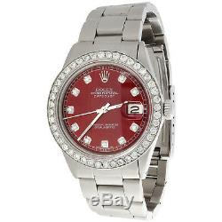 Mens Rolex Datejust 36mm Diamond Watch Oyster Band Custom Steel Red Dial 2 Ct