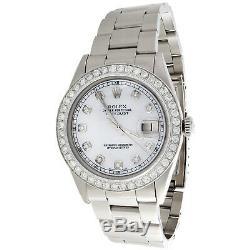 Mens Rolex Datejust 36mm Diamond Watch Oyster Band En Acier Blanc Mop Dial 2 Ct