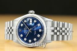 Mens Rolex Datejust Blanc Or Et Acier Inoxydable Blue Diamond Cadran