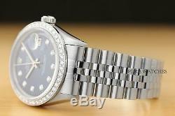 Mens Rolex Datejust Cadran Bleu En Or Blanc 18 Carats Et Lunette Sertie De Diamants Montre En Acier