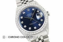 Mens Rolex Datejust Diamant Or Blanc 18 Carats Et Acier Inoxydable À Cadran Bleu