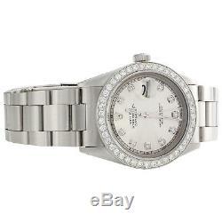 Mens Rolex Datejust Diamond Watch 36mm En Acier Inoxydable Oyster Cadran Argenté 2 Ct