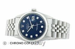 Mens Rolex Datejust En Or Blanc 18 Carats Et Acier Inoxydable Blue Diamond Cadran