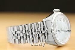 Mens Rolex Datejust Ice Blue Diamond White Gold & Montre En Acier Inoxydable