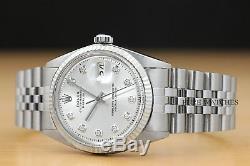 Mens Rolex Datejust White Gold & Acier Inoxydable Argent Diamant Cadran