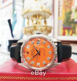 Mens Rolex Oyster Perpetual Datejust En Acier Inoxydable Et Or Orange Cadran