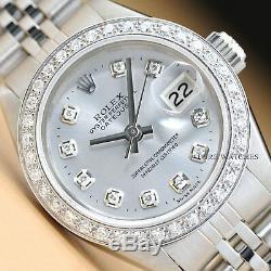 Mesdames Mesdames Rolex Datejust Montre En Acier Inoxydable Avec Or Blanc 18 Carats