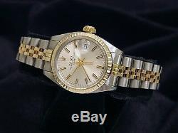 Mesdames Rolex Date 2tone En Or Jaune 14k & Montre En Acier Jubilé D'argent Cadran 6917