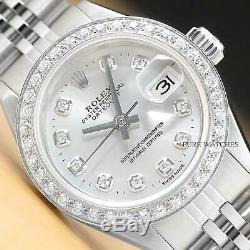 Mesdames Rolex Datejust Argent Diamant Or Blanc 18 Carats Et Montre En Acier Inoxydable