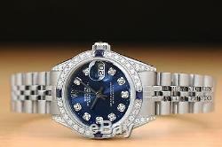 Mesdames Rolex Datejust Diamant Or Blanc 18 Carats Et Acier Blue Diamond Cadran