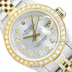 Mesdames Rolex Datejust Montre En Or Jaune 18 Carats Avec Cadran Argenté Et Diamants