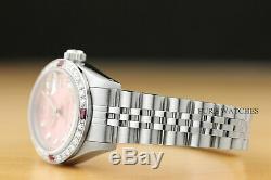 Mesdames Rolex Datejust Or Blanc 18 Carats De Diamants Et Rubis En Acier Rose Cadran