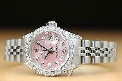 Mesdames Rolex Datejust Pink Diamond Cadran, Lunette Et Cosses Or Blanc 18 Carats Montre En Acier