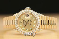 Mesdames Rolex Diamant Président Montre En Or Jaune + 1.10 Ct Diamond Bezel