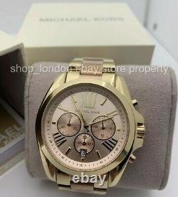 Michael Kors Mk6359 Pink & Gold Tone Bradshaw Chronograph Ladies Wrist Watch États-unis