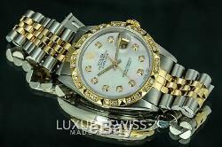 Montre Datejust 16013 En Or 18 Carats 36mm Mop Dial Diamond Bezel Rolex Homme