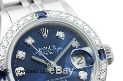 Montre Femme Rolex Datejust Avec Cadran Bleu Et Diamant En Or Blanc 18k Et Acier Inoxydable