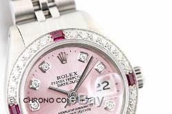 Montre Femme Rolex Datejust Avec Cadran Rose Et Diamants En Or Blanc 18k Et Acier Inoxydable