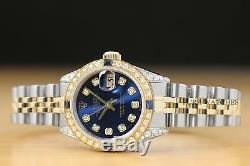 Montre Femme Rolex Datejust Blue Diamond Saphir En Or Jaune 18k & Acier