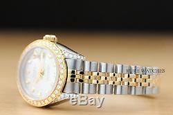 Montre Femme Rolex Datejust En Argent Avec Diamants, Lunette Et Cornes En Or Jaune 18 Carats / Acier