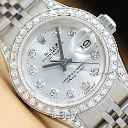 Montre Femme Rolex Datejust En Or Blanc À Diamants Avec Cadran Argenté, Or Blanc 18k