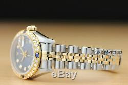 Montre Femme Rolex Datejust En Or Jaune 18 Carats Avec Diamants Et Saphir Bleu