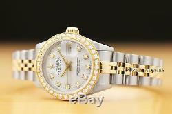 Montre Femme Rolex Datejust Factory À Diamants, Deux Tons, En Or Jaune 18k
