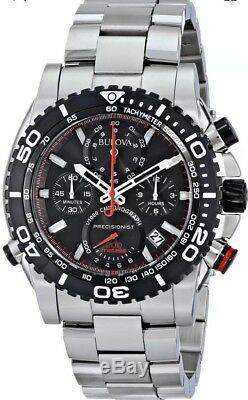 Montre Homme Chronographe 98b212 Precisionist Cadran Noir S / Acier Tachymeter Pdsf 895 $