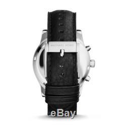 Montre Homme Michael Kors Hawthorne Mk8393 Chronographe Cadran Gris Noir En Cuir