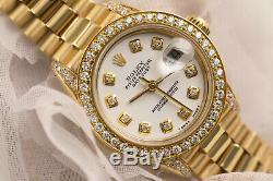 Montre Pour Femme Rolex Avec Cadran Blanc Et Diamants, En Or Jaune 18 Kt, De 26 MM