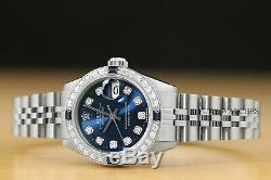 Montre Rolex À Saphir Et À Diamants, Datejust, Or Blanc Et Cadran Bleu, Acier