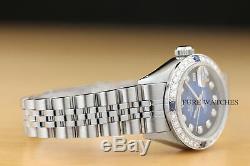 Montre Rolex Blue Vignette Saphir Datejust En Or 18 Carats Et Acier Avec Diamants