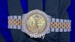 Montre Rolex Date Only 2 Tons 36mm En Acier Et Or Montre 11 Carats Diamant Glacée