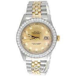 Montre Rolex Datejust À Diamants Pour Homme, 36 Mm, Cadran Champagne Jubilé 18 Carats À Deux Tons Avec 2 Ct
