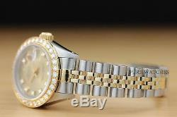 Montre Rolex Datejust Factory Pour Femme, Cadran Orné De Diamants 2 Tons, En Or 18 Carats