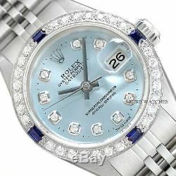 Montre Rolex Datejust Pour Femme, Bleu Saphir Et Diamants, Saphir, Or Blanc Et Acier 18k