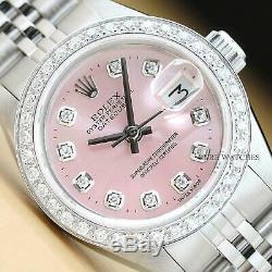 Montre Rolex Datejust Pour Femme, Cadran Avec Diamants Roses, En Or Blanc Et Acier Inoxydable 18 Carats