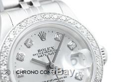 Montre Rolex Pour Femme Datejust En Or Blanc 18k Et Acier Inoxydable Avec Cadran Orné De Diamants