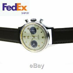 Mouette Chronographe Mens Montre Pilot Réédition 304 1963 Vintage Panda Ivoire