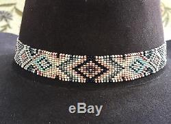 Native Design Bandeau De Chapeau Perlé Handmad Chapeau Band Turquoise Rose Gris Noir Deerskin