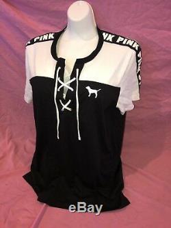 New Victoria's Secret Pink Classic Pantalon Noir Ensemble De Tee-shirts De Camping À Lacets Gris Grand