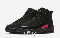 Nike Air Jordan 12 XII Retro Sz 8y Noir Gris Foncé Rush Rose Gs 510815-006