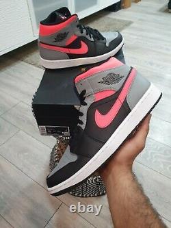 Nike Air Jordan 1 MID Pink Shadow Black Grey Hot Punch Uk11 Marque Neuve