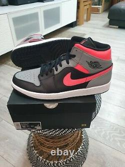 Nike Air Jordan 1 MID Pink Shadow Black Grey Hot Punch Uk8 Marque Neuve