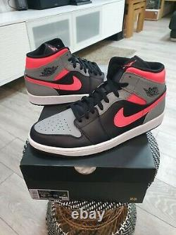 Nike Air Jordan 1 MID Pink Shadow Grey Black Hot Punch Uk12 Brand New