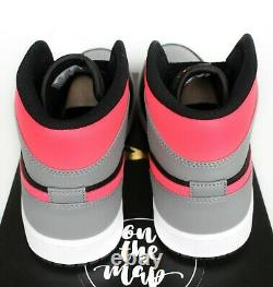 Nike Air Jordan 1 Retro MID Shadow Grey Hot Punch Pink Black Uk 5 6 7 8 États-unis Nouveau