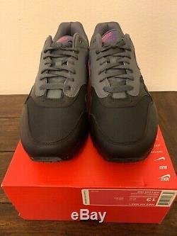Nike Air Max 1 Miami Nights Noir Gris Pourpre Rose Ar1249-002 Pour Hommes Sz 13