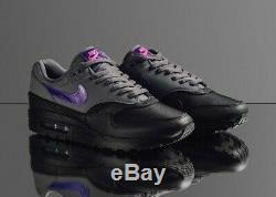 Nike Air Max 1 Noir Gris Violet Rose Ripstop Ar1249-002 Taille 10 Us Uk 11