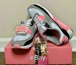 Nike Air Max 90 Blanc Gris Rose Rose En Cuir Noir Cd0881-101 Taille 9.5 11